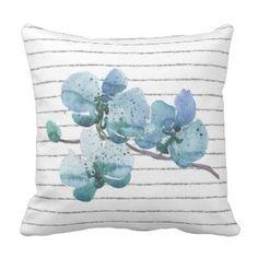 Gray White Pin Stripe Blue Orchid Flower Pillow