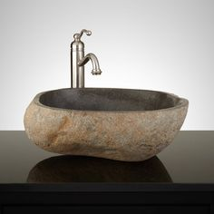 Minidoka Dark Gray River Stone Vessel Sink