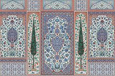 Iznik - typical compositions for a wall with Iznik tiles, a prized Ottoman manufacture that reached its apogee in the late century - IKSEL Scenic Wallpaper, Luxury Wallpaper, Islamic Tiles, Islamic Art, Textile Pattern Design, Pattern Art, Sunroom Decorating, Turkish Design, Family Tree Wall