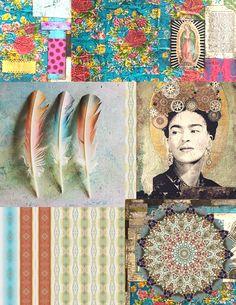 Art Journal Digital Collage Sheet by karen michel