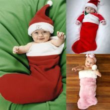 Infant Baby Girl Boy Christmas Photos Prop Santa Outfits Socks Design Costume AU Sleeping Bags(China (Mainland))