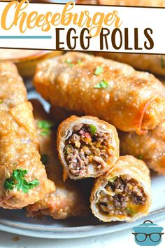 Cheeseburger Egg Rolls have a flavorful ground beef filling fried in an egg roll wrapper and served with a creamy burger dipping sauce. Egg Roll Recipes, New Recipes, Cooking Recipes, Favorite Recipes, Recipes Using Egg Roll Wrappers, Tuna Sandwich Recipes, Apple Recipes, Pumpkin Recipes, Crockpot Recipes