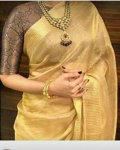 Pure tissue linen sarees with blouse.Pure tissue linen sarees with blouse . 🌻 to see more collections 📲 Direct message (or) Whatsapp 9600000480 with the product code for price details, orders and queries ❤ Book urs soon ❤ 💫 . Saree Blouse Neck Designs, Saree Blouse Patterns, Fancy Blouse Designs, Golden Blouse Designs, Brocade Blouse Designs, Kerala Saree Blouse Designs, Designer Blouse Patterns, Lehenga Designs, Sari Design