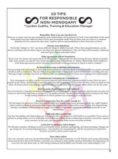 We shared 10 Tips for Responsible Non-Monogamy in CommUNITY (vol. 2 iss 6)