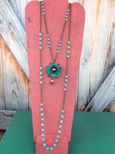 Double Strand Turquoise Flower Necklace - NEK052TU