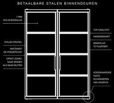 Betaalbare stalen binnendeuren. DUBBELE DEUR 260 cm hoog €1899,- INCL. BTW