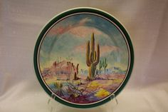 Catalina Island Pottery cold painted plate - Desert scene of saguaros. Painted by Chase.