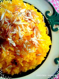 Zarda (Hindi: ज़र्दा, Urdu: زردہ/zarda) is a traditional South Asian sweet dish, made by boiling rice with (orange) food coloring, milk and sugar, and flavoured with cardamoms, raisins, saffron, pistachios or almonds. The name Zarda comes from Persian and Urdu 'zard' meaning 'yellow', hence named since the food coloring added to the rice gives it a yellow color. Zarda is typically served after a meal. In Pakistan and India, zarda was and still remains a popular dessert on weddings.