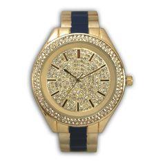 Olivia Pratt Two-tone Fancy Rhinestone Dial Bangle Watch