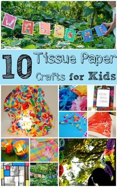 Tissue Paper Crafts for Kids - so bright and cheerful!