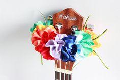 ribbon lei for ukulele rianbow / ukulele accessories/ by ukuhappy