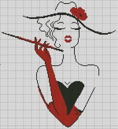 free cross stitch chart looks like cruella Cross Stitching, Cross Stitch Embroidery, Embroidery Patterns, Hand Embroidery, Cross Stitch Charts, Cross Stitch Designs, Cross Stitch Patterns, Cross Stitch Silhouette, Tapestry Crochet