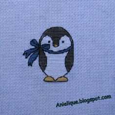 penguin, cross stitch