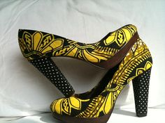 African Fabric court shoe from South Of Africa on etsy. Yellow print + polka dots. Oh my.
