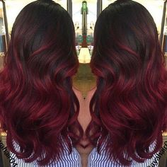 Dark red balyage #colour