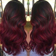 Dark red balyage #colour