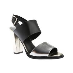 Women's Kenneth Cole New York Susie Slingback - Silver/Black Leather... ($106) ❤ liked on Polyvore featuring shoes, sandals, casual, casual footwear, black chunky heel sandals, black slingback sandals, black leather sandals, kenneth cole sandals and leather sandals