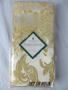 Waterford Table Linens Set of 4 Napkins Kingscourt Gold Ivory New Floral Design   eBay $21.95
