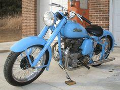 Beautiful Vintage Blue Indian Motorcycle
