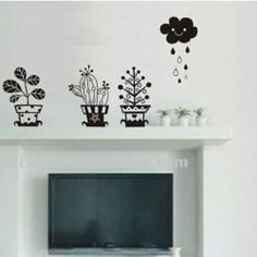 gratis verzending plant cloud regen slaapkamer woonkamer muur sticker muurschildering vinyl art decor home decoratie sticker ow695