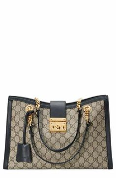 c020333b89c Gucci Medium Padlock GG Supreme Canvas Tote Gucci Padlock Bag