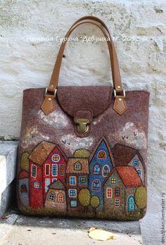 """Comprar bolsa """"En la ciudad de N"""" - marrón, ejemplo, bolsa, bolso hecho a mano:"""