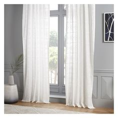 West Elm Sheer Clipped Jacquard Concentric Diamonds Curtain ($55) ❤ liked on Polyvore featuring home, home decor, window treatments, curtains, white, white curtains, rod pocket sheer curtain panels, window panels, tab top sheer curtains and white window curtains