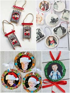 Ornaments Kids Can Make Picture Christmas Ornaments, Diy Photo Ornaments, Christmas Photo Cards, Christmas Crafts For Kids, Christmas Photos, Holiday Crafts, Christmas Diy, Letter Ornaments, Homemade Ornaments