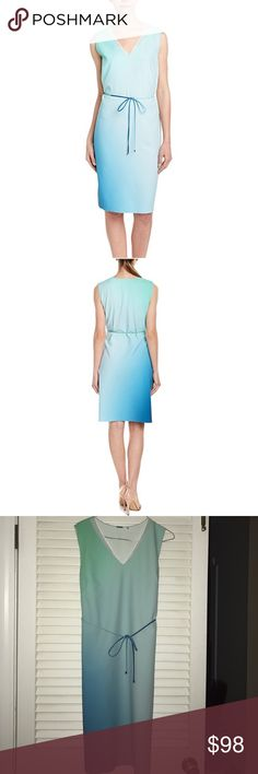 "🦋ELIE TAHARI🦋Elie Tahari Perla Shift Dress🦋 DETAILS: Elie Tahari Color/Pattern: Green And Blue Ombre Slip-On Styling with the V-neck.  Shell: 85% Polyester 15% Elastane Neck Inserts: 100% Cotton tie ombré  belt included measurements are. Bust 18"" waist 18 1/2, length 38 1/2"" can fit a small to medium Elie Tahari Dresses Midi"