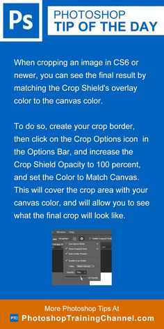 When cropping an image in CS6 or newer, you can see the final result by matching the Crop Shield's overlay color to the canvas color. To do so, create your crop border, then click on the Crop Options icon  in the Options Bar, and increase the Crop Shield Opacity to 100 percent, and set the Color to Match Canvas. This will cover the crop area with your canvas color, and will allow you to see what the final crop will look like.