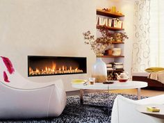 Interior, Great Design Fireplace Ideas Fireplace Surround In Living Room With Stone Inside And Built In Wall Unit Beside: Inspiring Contempo...