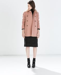 Image 1 of DOUBLE BREASTED COAT WITH FUR COLLAR from Zara