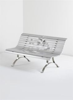 PABLO REINOSO 'Aluminium Bench', 2008  Aluminium, steel.  72.5 x 145 x 71 cm. (28 1/2 x 57 1/8 x 28 in.) Self-produced, France. Number three from the edition of eight plus four artist's proofs. Back of bench impressed with '3 / 8 FC 2009 Reinoso'.