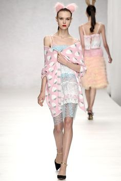 Ryan Lo SS14. Strawberries and sheer blue tulle.