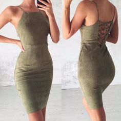 - Classy dress with lace up detail on the back! - Color: Black, Green, Khaki, Red - Material: Polyester, Modal - Size: S, M, L, XL - Check last picture for size measurement