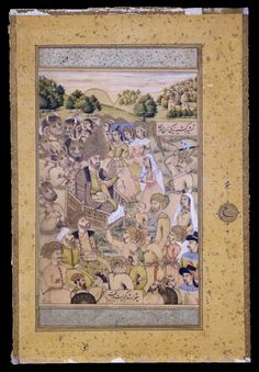 """Miniature pasted on an album leaf, """"The Judgment of Solomon"""", Iran, Isfahan, 1075 H = 1664"""