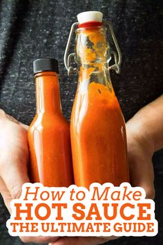 Want to make homemade hot sauce but don't know where to start? This guide will teach you how to make hot sauces of different types, including many recipes and tips, fermenting information, preserving hot sauce, and how to start a hot sauce business. #homemadehotsauce #hotsaucerecipe