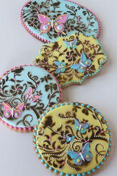 Butterfly cookies, stenciled two ways, by Julia M. Usher, www.juliausher.com