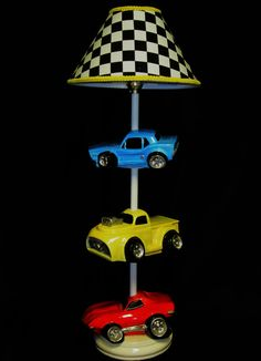 Car Lamp Hot Rods Race Cars Boy's Room by whimsicalcollections Boy Car Room, Race Car Room, Baby Boy Rooms, Race Car Nursery, Car Themed Nursery, Chambre Hotwheels, Hot Wheels Bedroom, Bedroom Themes, Bedroom Decor