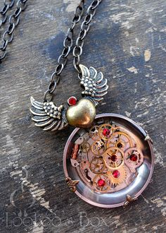 Winged Heart Resin Necklace N0330 by Robin Delargy / LooLoo's Box, via Flickr