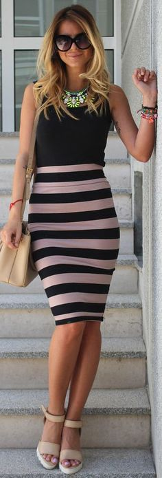 Choies Blush/black Striped Pencil Midi Skirt by Zorannah.