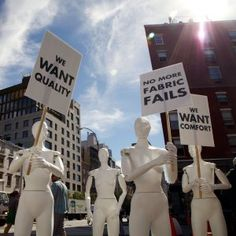 """Cotton Or Nothing Protest. For New York Fashion Week Nexus Interactive Arts created the """"Cotton or Nothing"""" installation and stop-moti. Guerrilla Advertising, Guerilla Marketing, Fast Fashion, King Cotton, Interactive Art, New York Street, Stop Motion, Photo Illustration, Guerrilla Marketing"""