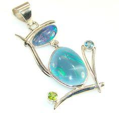 $89.95 New Fire Opal Sterling Silver Pendant at www.SilverRushStyle.com #pendant #handmade #jewelry #silver #opal