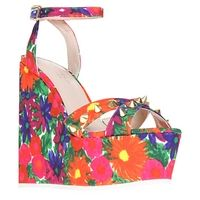 Carvela Gardina Printed Canvas Wedge Sandals - www.ladies-designer-shoes.co.uk