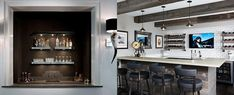 Kick back with a cocktail with the top 70 best home wet bar ideas. Explore cool interior designs to relax and entertain in style. Home Wet Bar, Diy Home Bar, Modern Home Bar, Bars For Home, Home Theater Room Design, Home Theater Rooms, Basement Bar Designs, Home Bar Designs, Wet Bar Sink