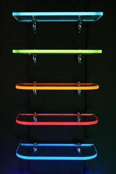 LightShelf with light tape embedded in the back edge of acrylic shelfs - easy to… Shoe Display, Display Shelves, Bar Shelves, Led Lighting Solutions, Video Game Rooms, Gaming Room Setup, Game Room Design, Gamer Room, Shelf Design