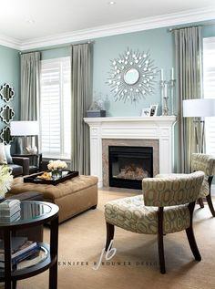 Pale Teal Living Room by Jennifer Brouwer Design Inc.