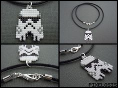 Handmade Seed Bead Stormtrooper Necklace by Pixelosis on deviantart