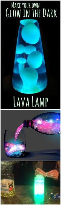 Glowing Oil & Water Experiment - FUN SCIENCE FOR KIDS - Make your own GLOW in the DARK lava lamp. Kids will marvel at the amazing effects of this lamp, all while exploring the Science behind liquid densities. TOO FUN! (No electricity or batteries required; just a few common household items)