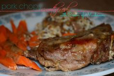 Pork chops smothered with cream of mushroom. Delicious!!!